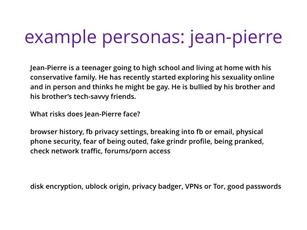 example personas: jean-pierre Jean-Pierre is a ...