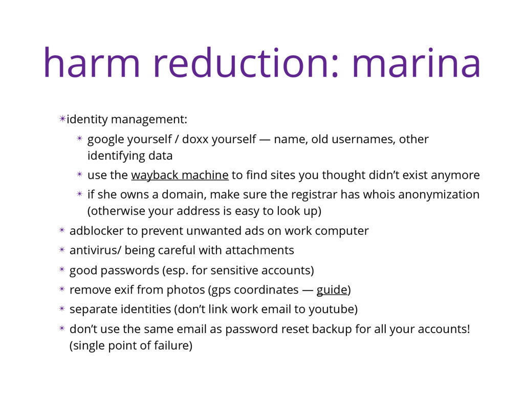 harm reduction: marina ✴identity management: ✴ ...