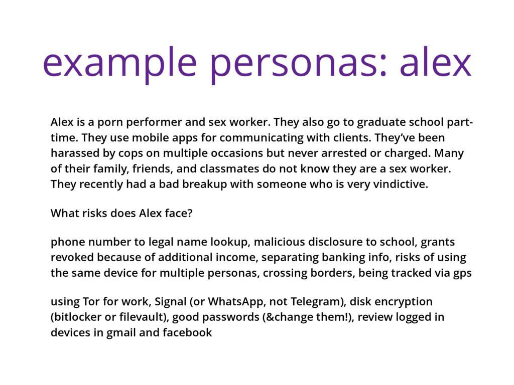 example personas: alex Alex is a porn performer...