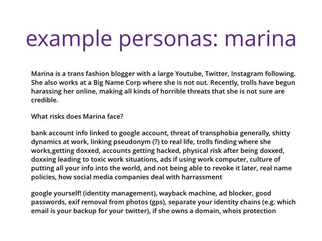 example personas: marina Marina is a trans fash...