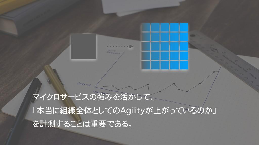マイクロサービスの強みを活かして、 「本当に組織全体としてのAgilityが上がっているのか...