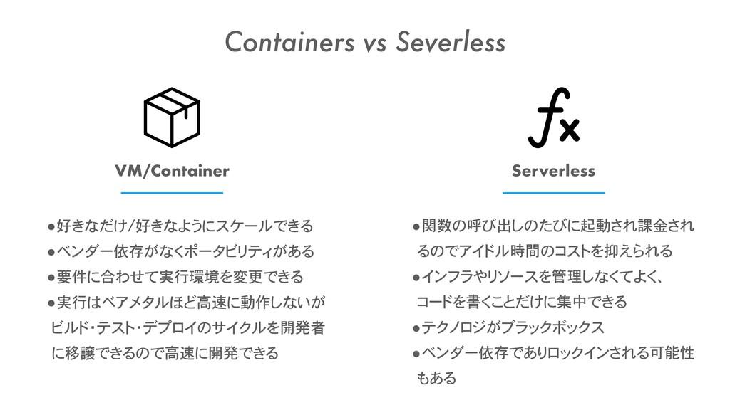 VM/Container Serverless •好きなだけ/好きなようにスケールできる •ベ...
