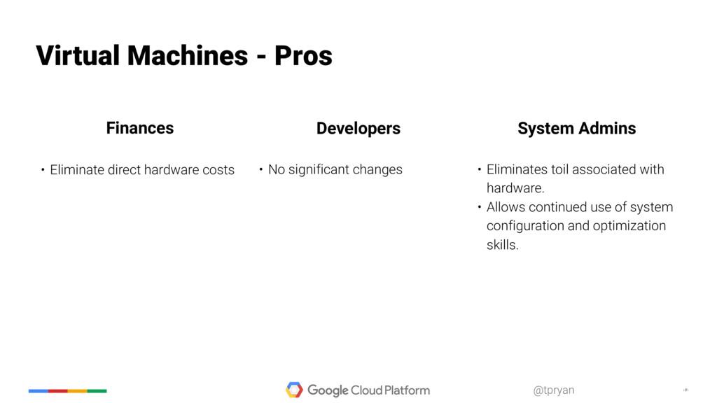 ‹#› @tpryan Virtual Machines - Pros • Eliminate...