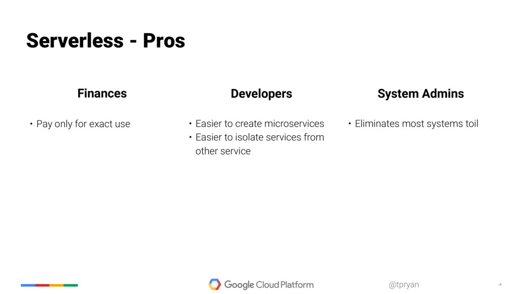 ‹#› @tpryan Serverless - Pros • Pay only for ex...