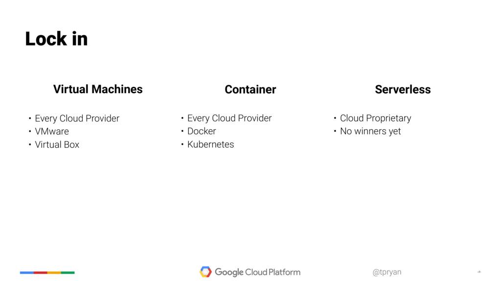 ‹#› @tpryan Lock in • Every Cloud Provider • VM...