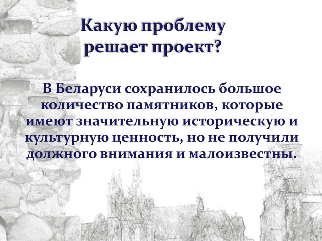 Какую проблему решает проект? В Беларуси сохран...