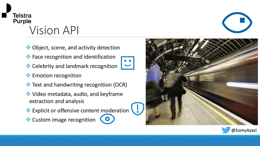 Vision API ❖ Object, scene, and activity detect...
