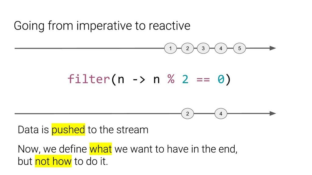 1 2 4 3 5 filter(n -> n % 2 == 0) 2 4