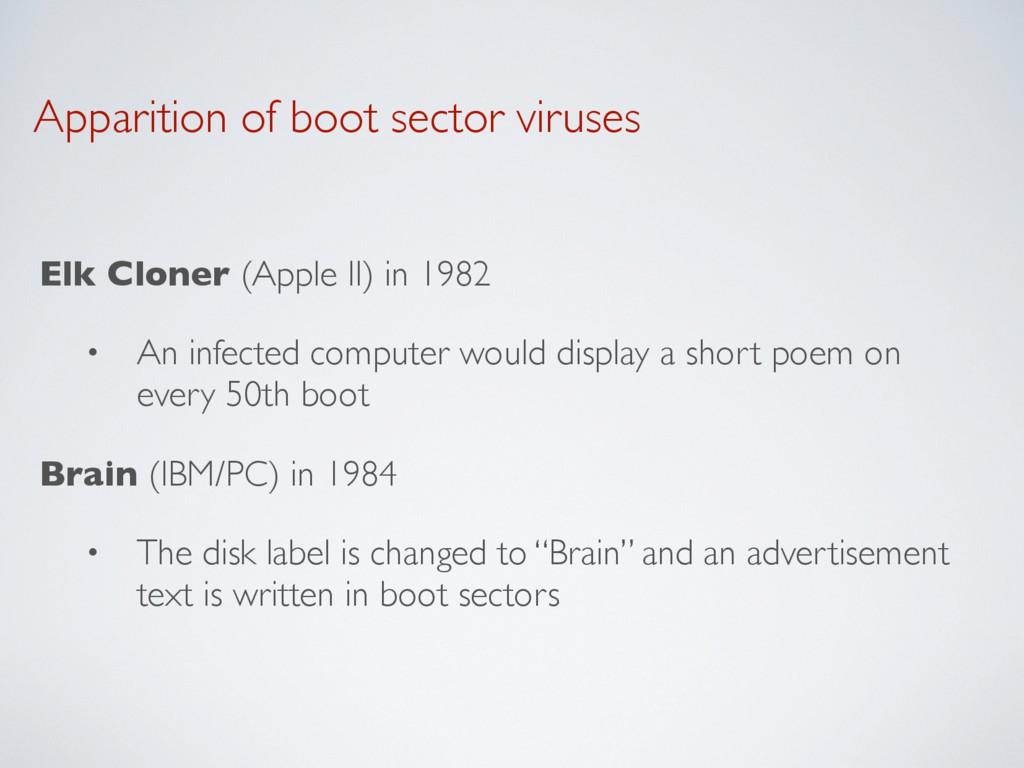 Apparition of boot sector viruses Elk Cloner (A...
