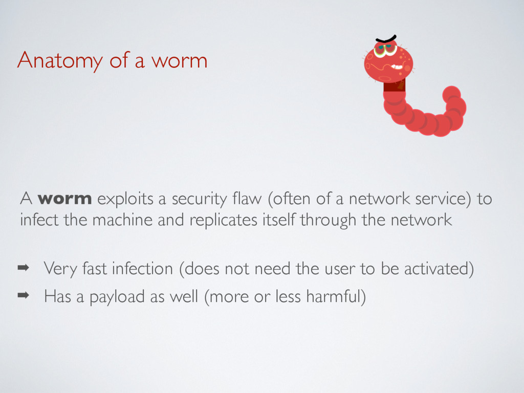 Anatomy of a worm A worm exploits a security fla...