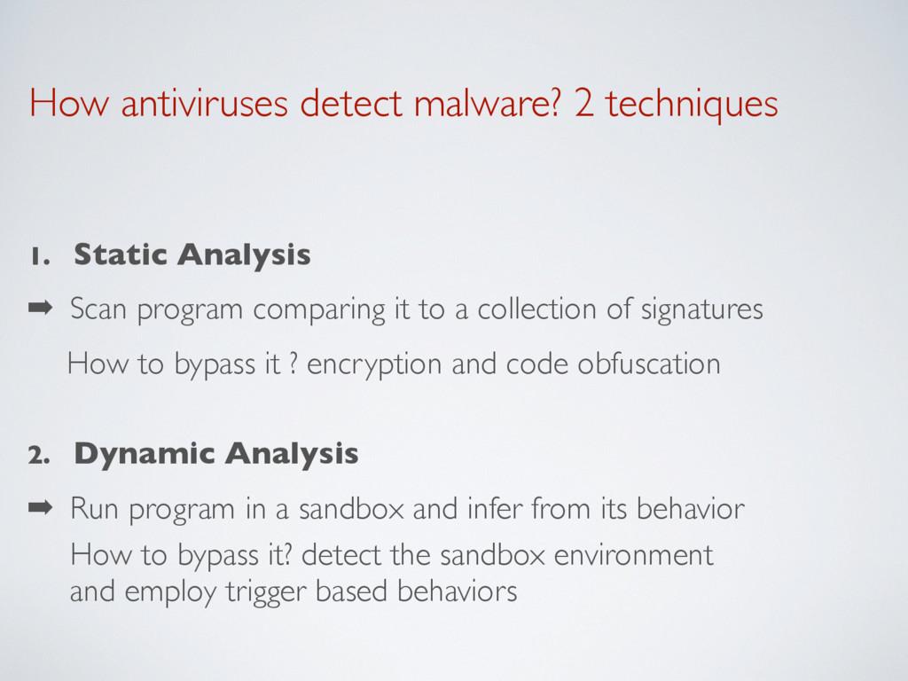 How antiviruses detect malware? 2 techniques 1....