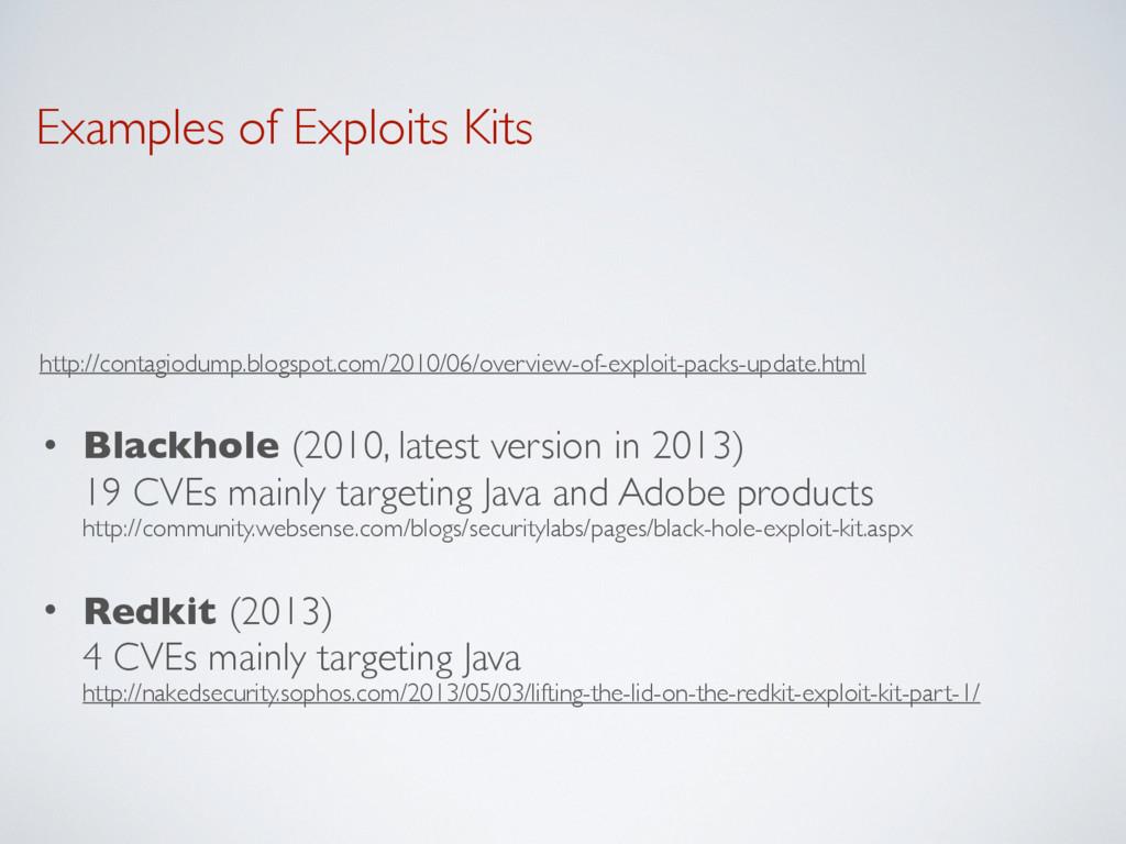 Examples of Exploits Kits http://contagiodump.b...