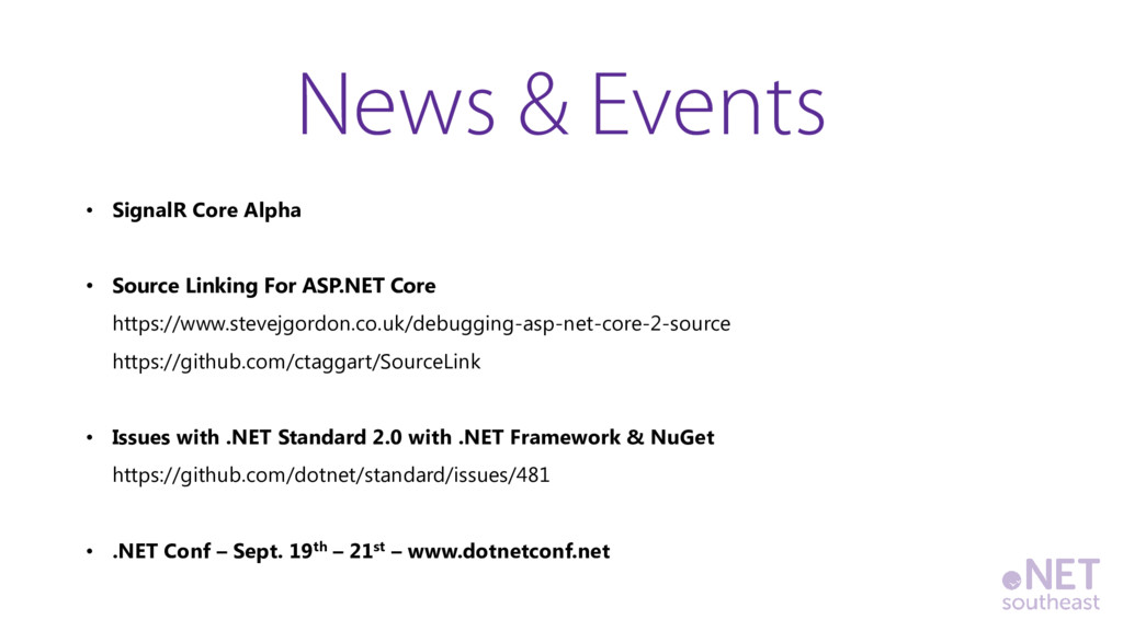 • SignalR Core Alpha • Source Linking For ASP.N...