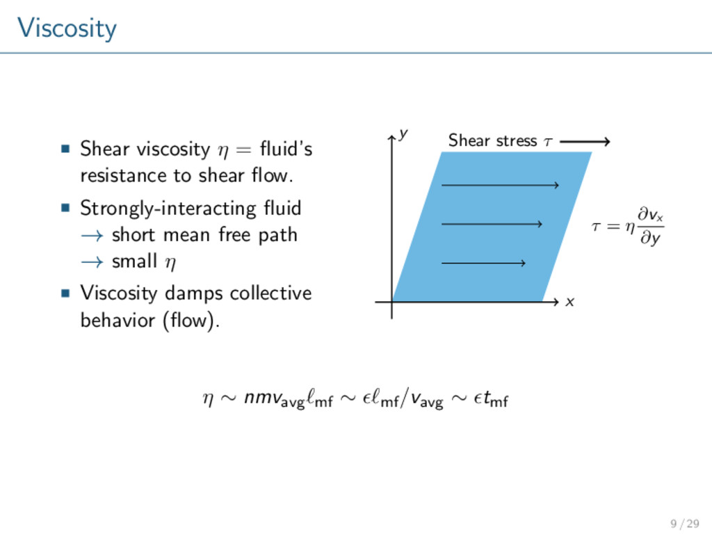 Viscosity Shear viscosity η = fluid's resistance...