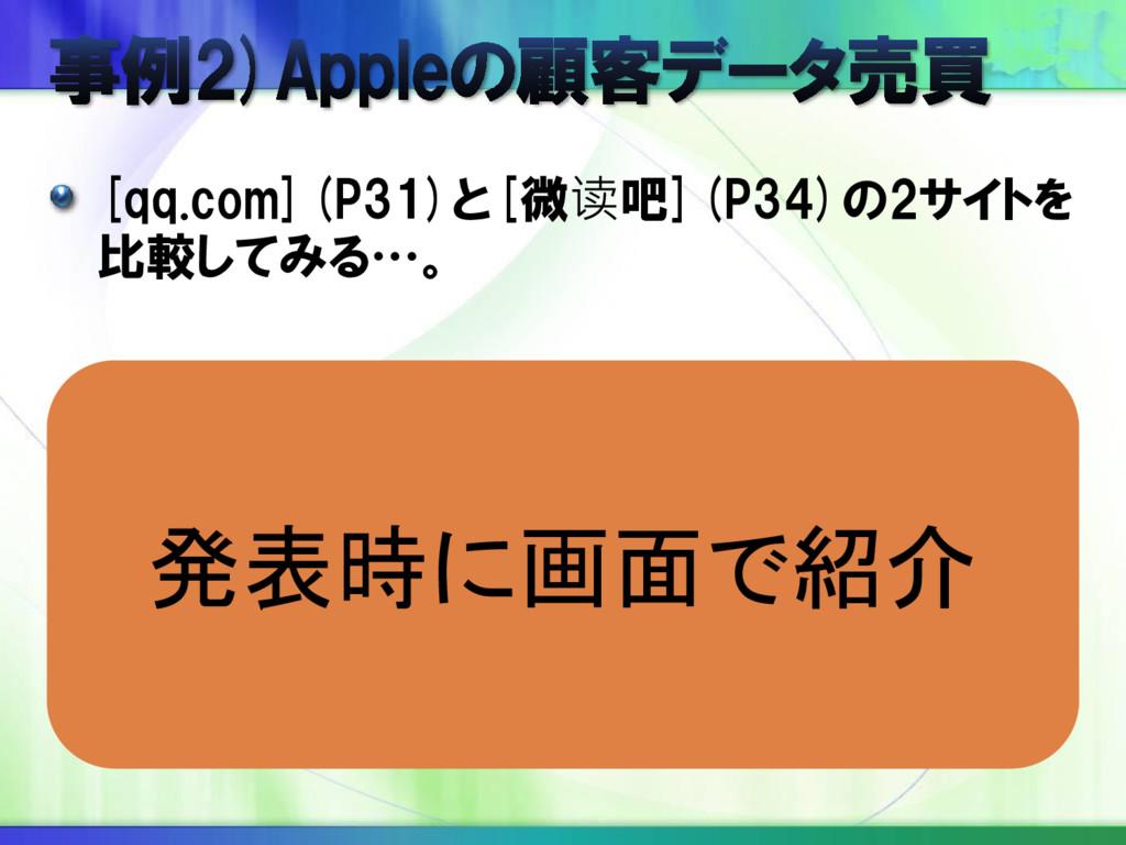 [qq.com](P31)と[微读吧](P34)の2サイトを 比較してみる…。 発表時に画面で...