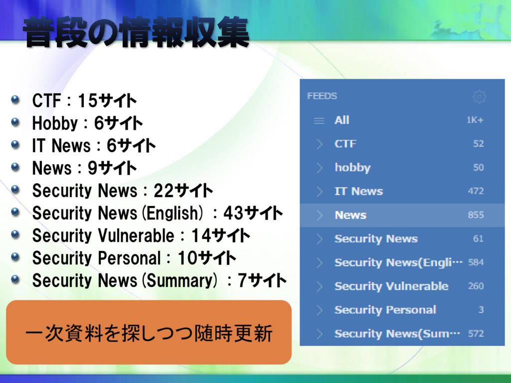 CTF : 15サイト Hobby : 6サイト IT News : 6サイト News : ...