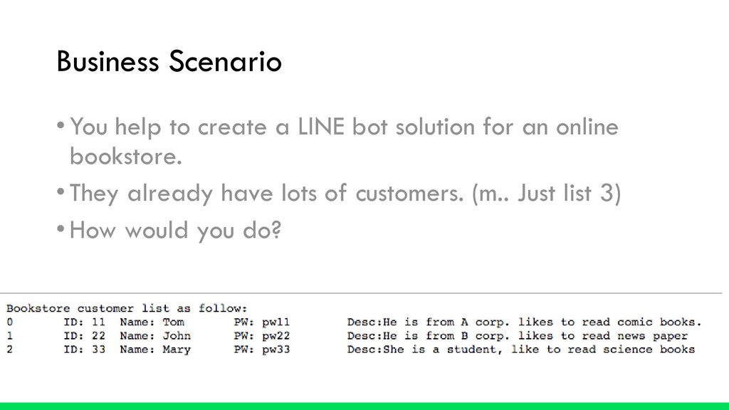 Business Scenario •You help to create a LINE bo...