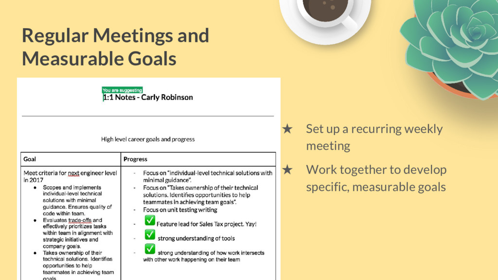 Regular Meetings and Measurable Goals ★ Set up ...