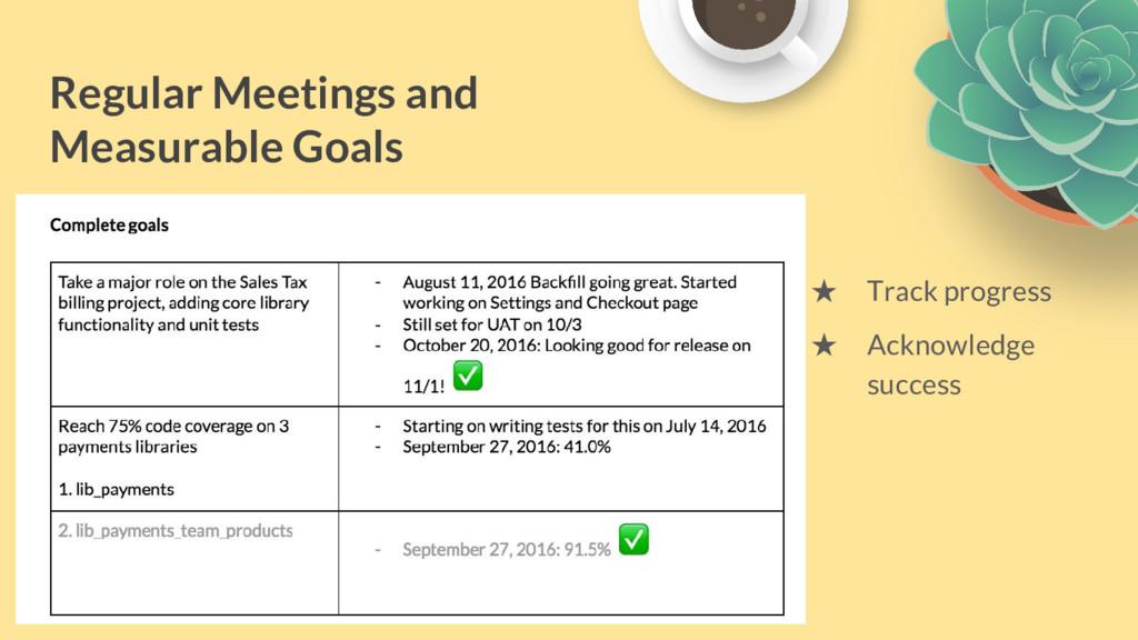 Regular Meetings and Measurable Goals ★ Track p...