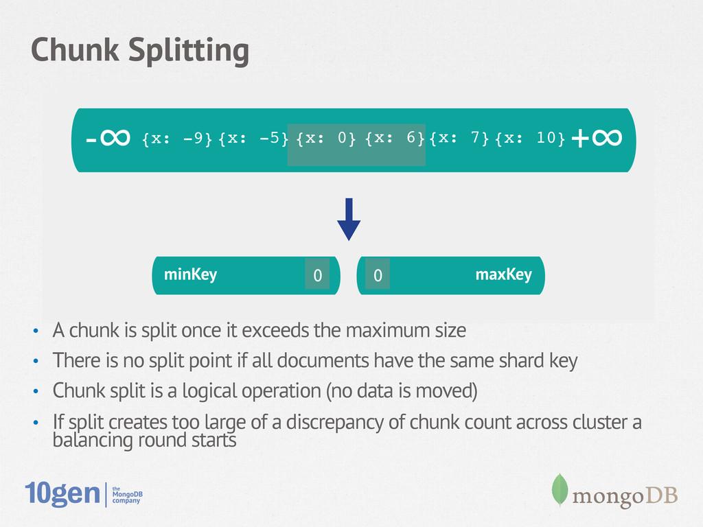 Chunk Splitting minKey maxKey minKey 13 14 maxK...