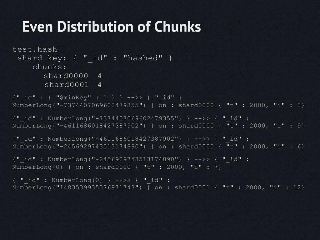"test.hash shard key: { ""_id"" : ""hashed"" } chunk..."