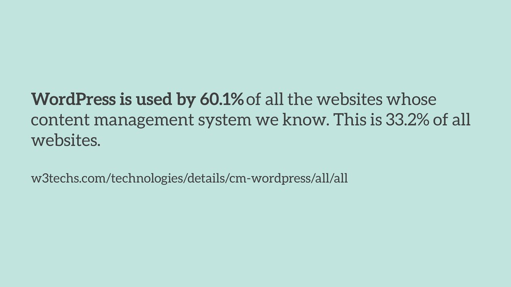 WordPress is used by 60.1% of all the websites ...