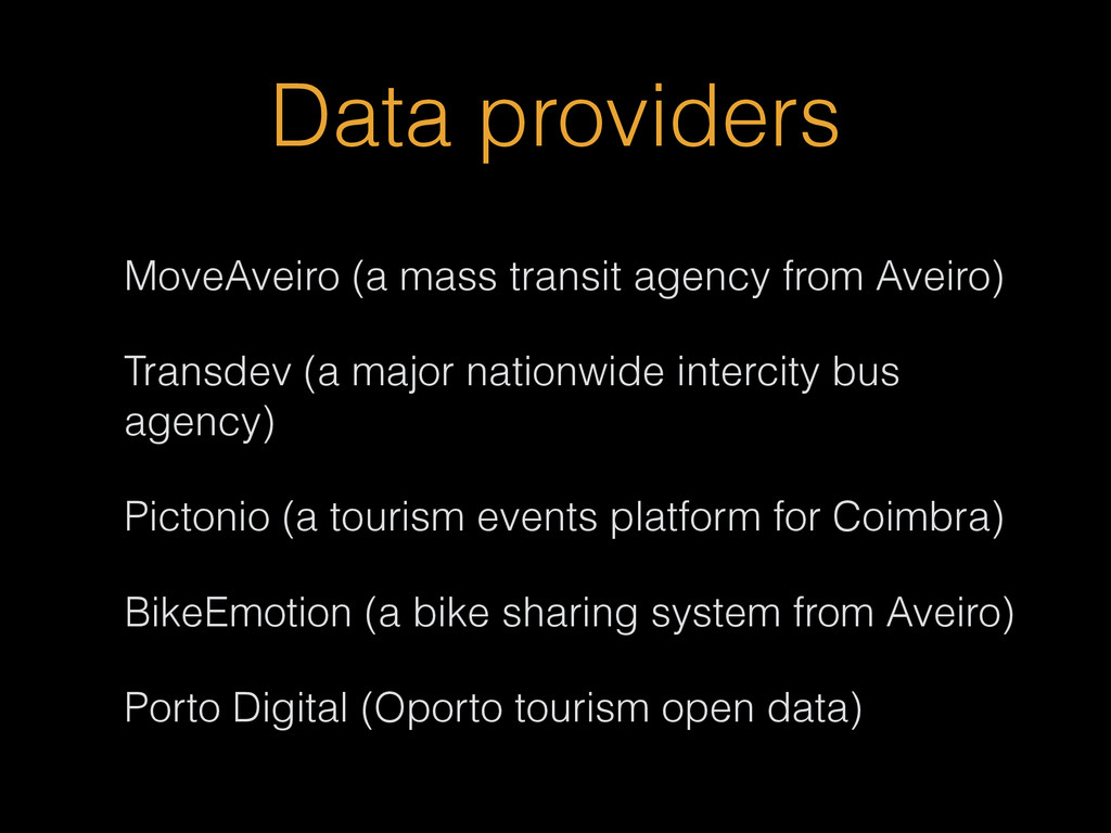 Data providers MoveAveiro (a mass transit agenc...