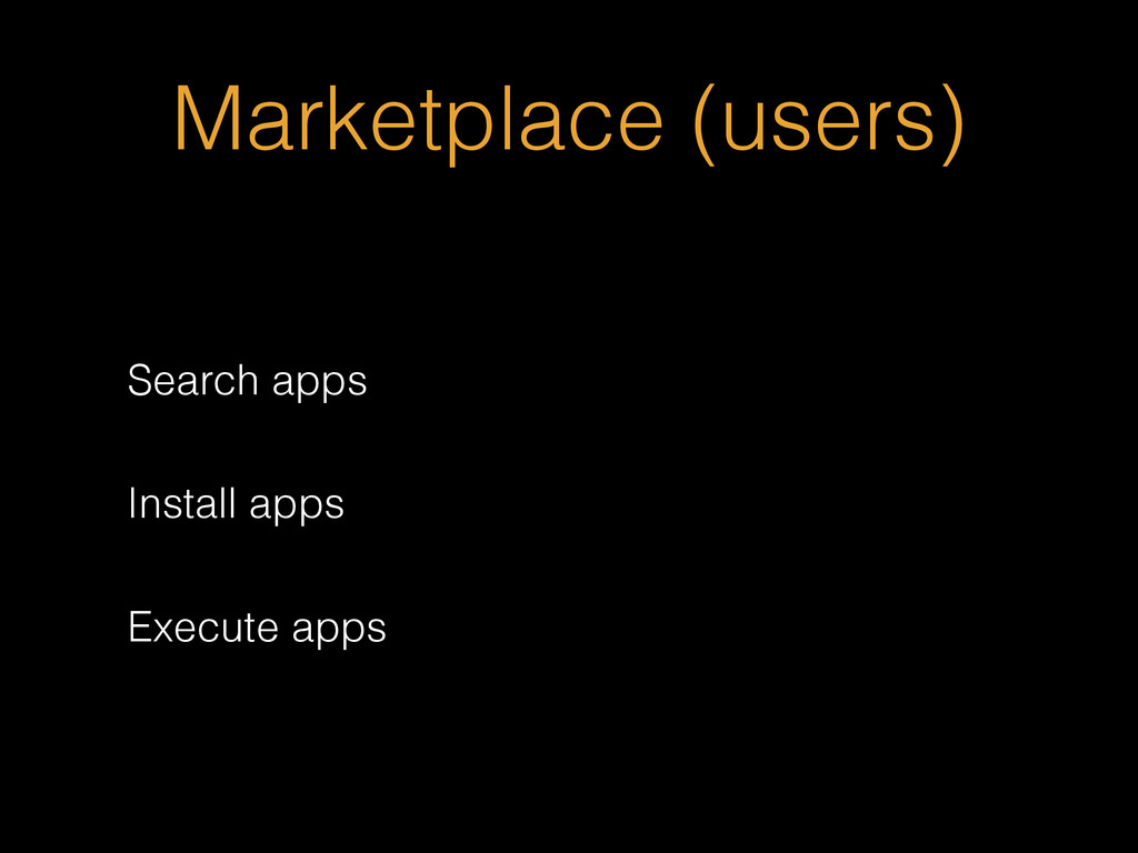 Marketplace (users) Search apps Install apps Ex...