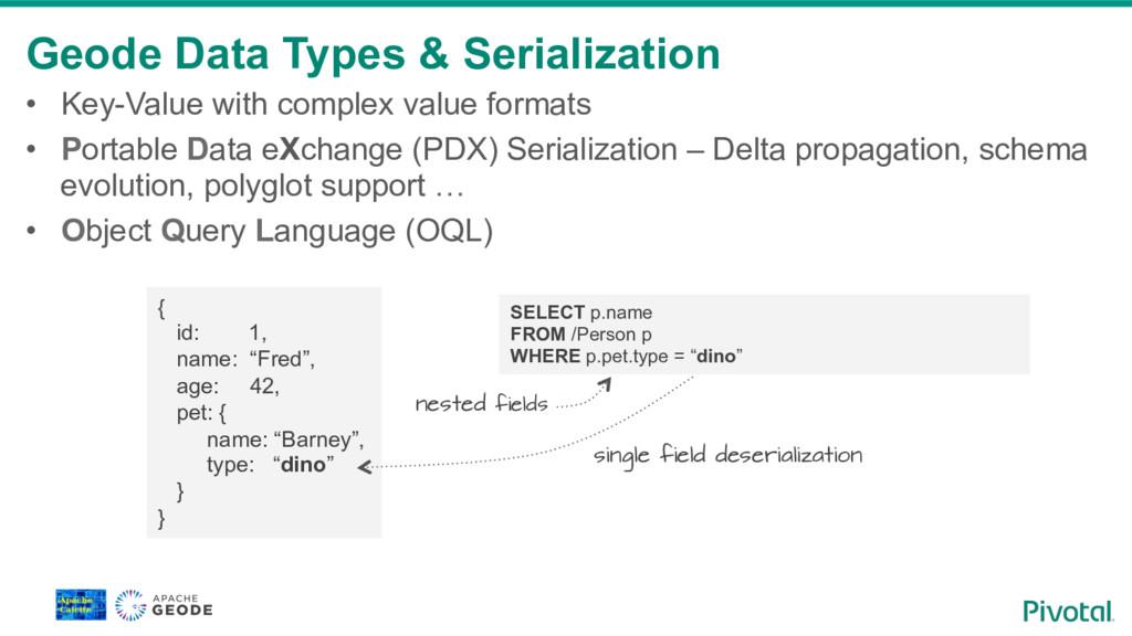 Geode Data Types & Serialization • Key-Value w...