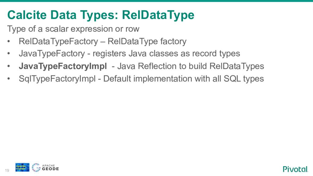 Calcite Data Types: RelDataType 19 Type of a sc...