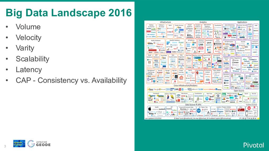 3 Big Data Landscape 2016 • Volume • Velocity...