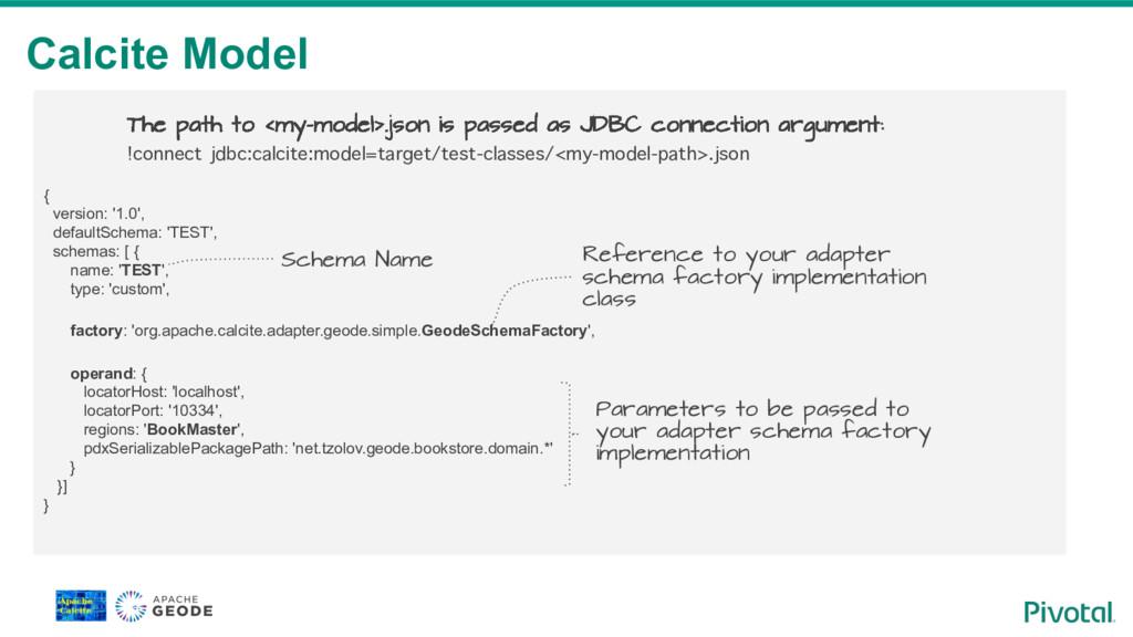 Calcite Model { version: '1.0', defaultSchema: ...