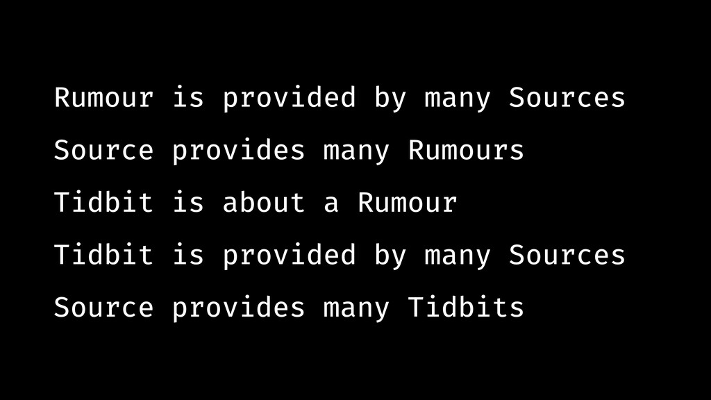 Rumour is provided by many Sources Source provi...