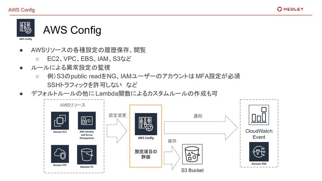 AWS Config AWS Config ● AWSリソースの各種設定の履歴保存、閲覧 ○ ...