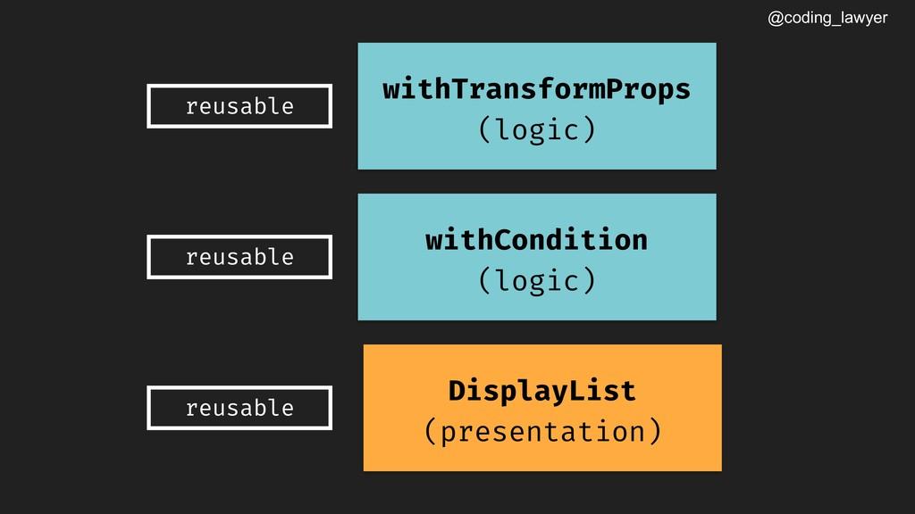 @coding_lawyer withTransformProps (logic) reusa...