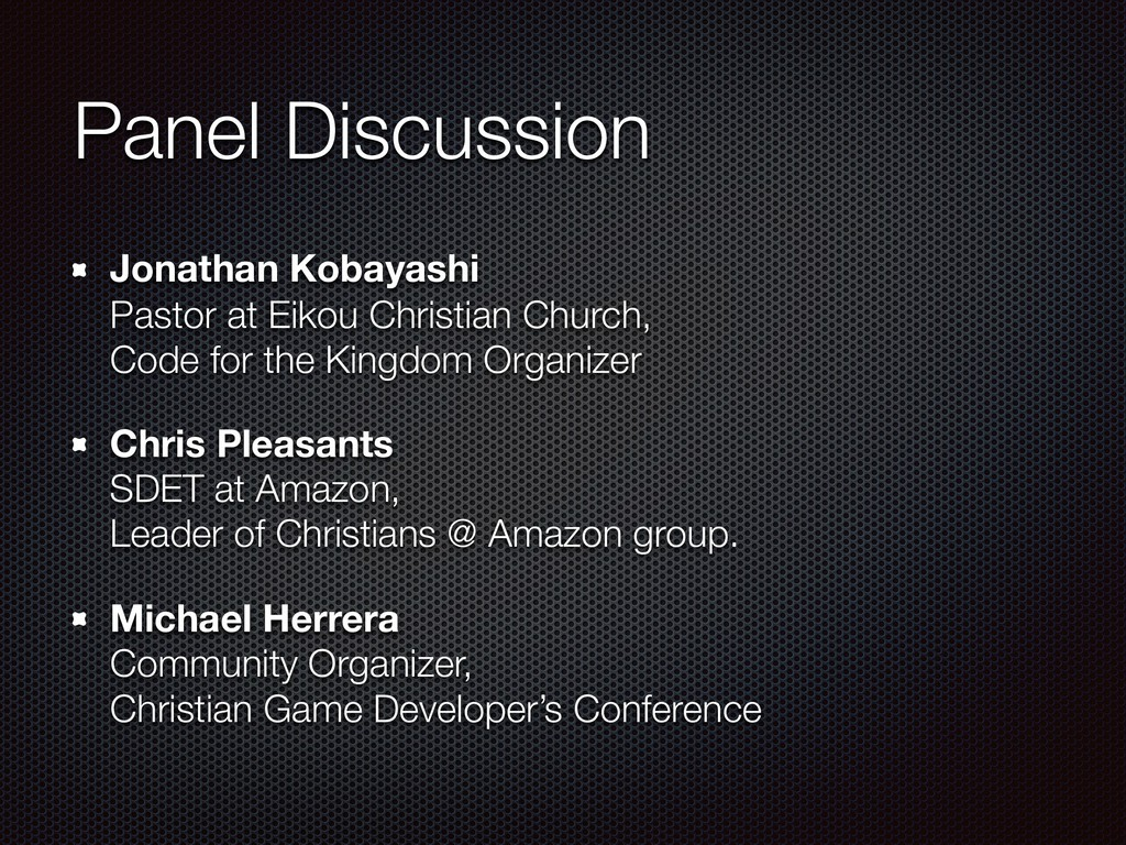 Panel Discussion Jonathan Kobayashi