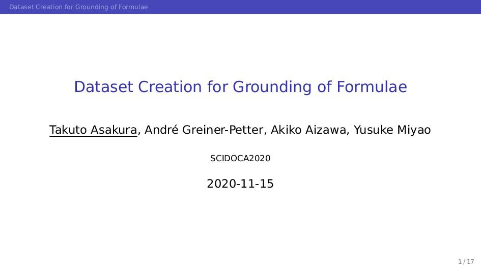 Dataset Creation for Grounding of Formulae Data...