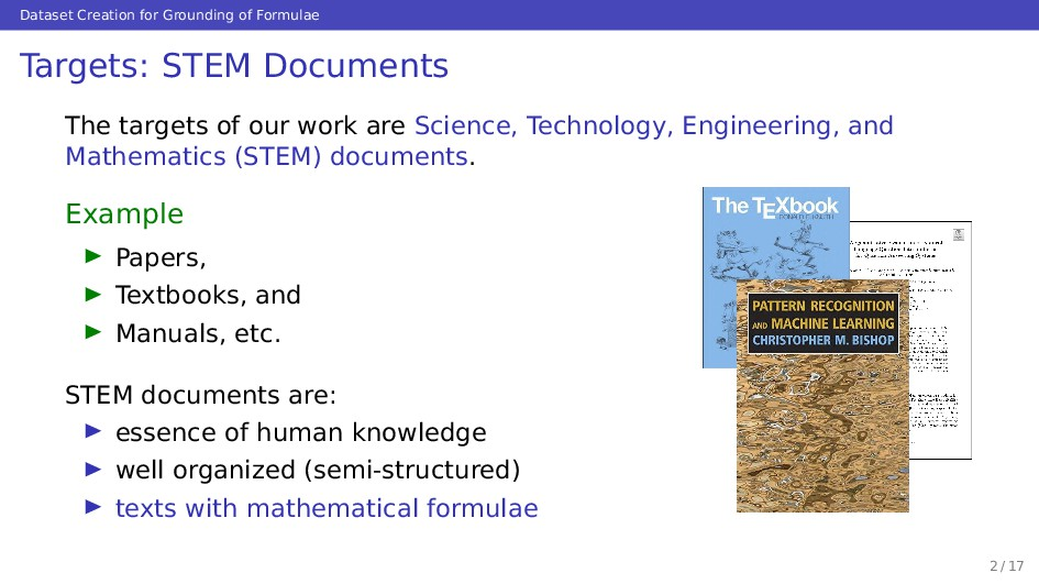 Dataset Creation for Grounding of Formulae Targ...