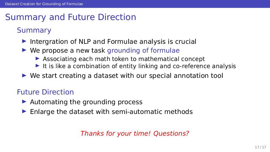 Dataset Creation for Grounding of Formulae Summ...