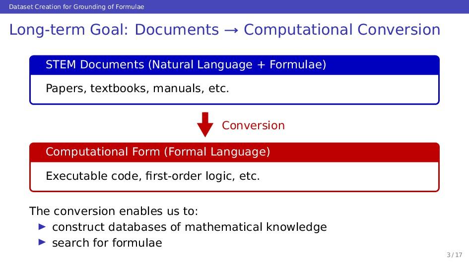 Dataset Creation for Grounding of Formulae Long...