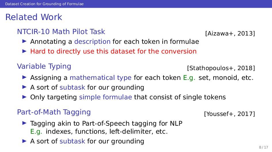 Dataset Creation for Grounding of Formulae Rela...