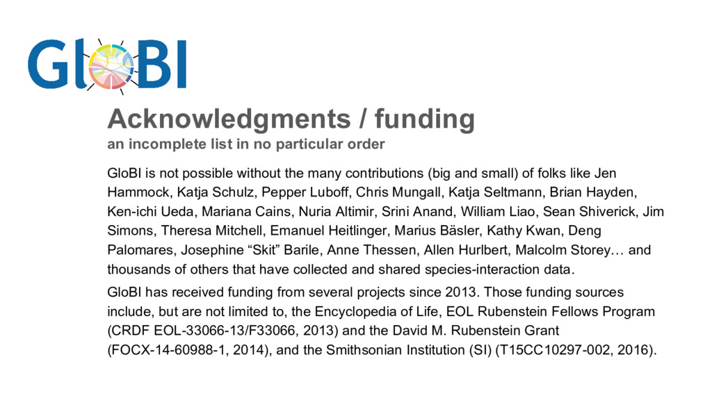 Acknowledgments / funding an incomplete list in...