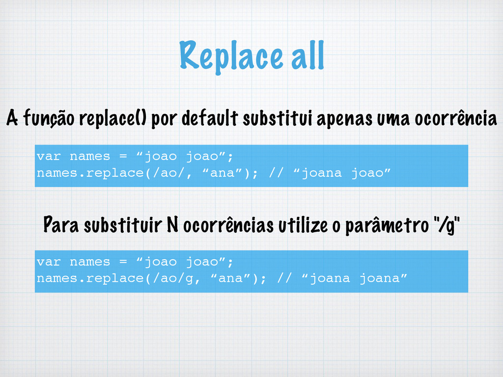 "Replace all var names = ""joao joao""; names.repl..."