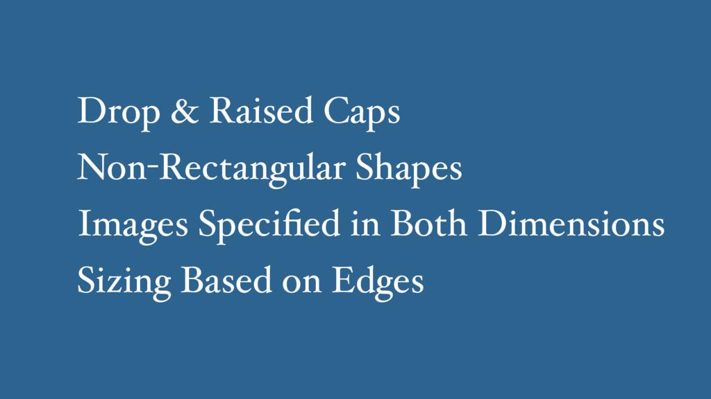 Drop & Raised Caps Non-Rectangular Shapes Image...