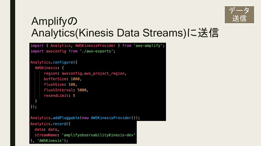 Amplifyの Analytics(Kinesis Data Streams)に送信 データ...