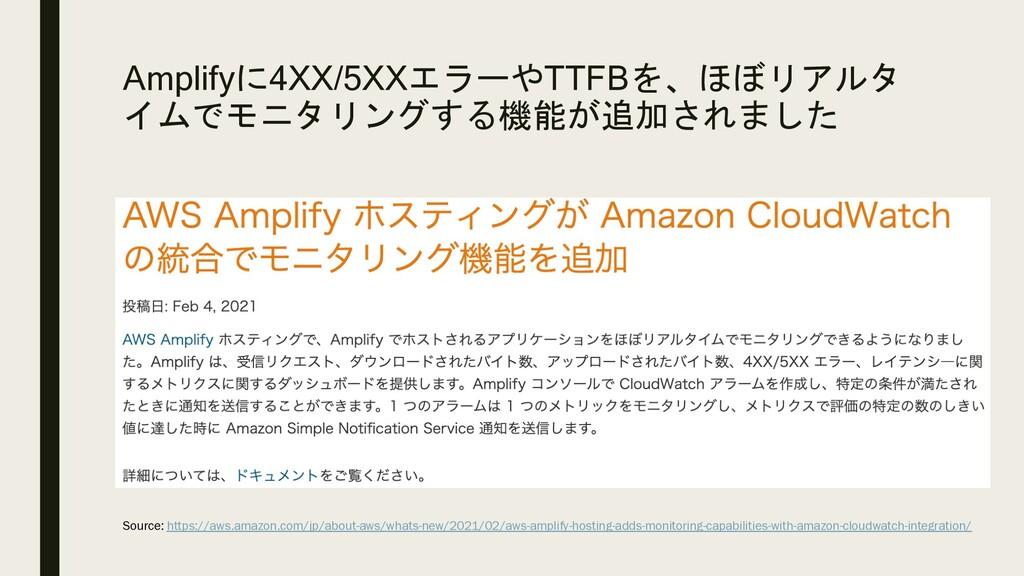 Amplifyに4XX/5XXエラーやTTFBを、ほぼリアルタ イムでモニタリングする機能が追...
