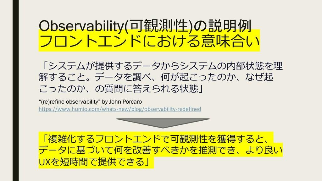 Observability(可観測性)の説明例 フロントエンドにおける意味合い 「システムが提...