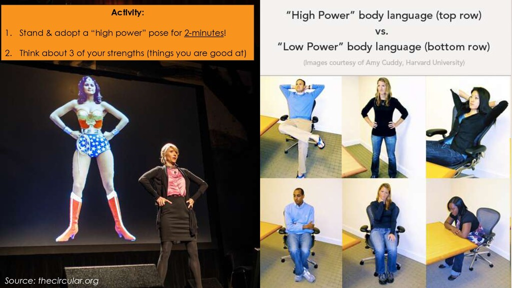 "Activity: 1. Stand & adopt a ""high power"" pose ..."