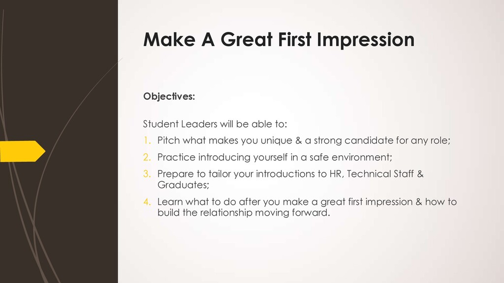 Make A Great First Impression Objectives: Stude...