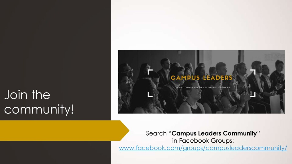 "Join the community! Search ""Campus Leaders Comm..."